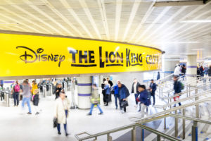 The Lion King Overhead banner Graphics at King's Cross Station