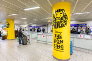 The Lion King vinyl column wraps at King's Cross Station