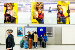 The Lion King large format vinyl graphics at King's Cross Station