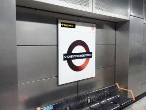 Shoreditch High Street Night Overground Roundel