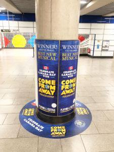 Come from Away column wraps and floor graphics