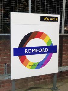 Pride 2019 Romford station roundel