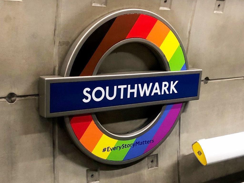 Pride 2019 Southwark Station Roundel