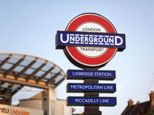 Newly restored Uxbridge station heritage roundel